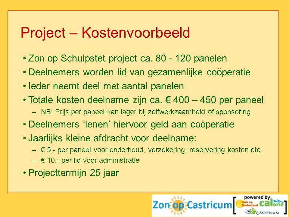 Project – Kostenvoorbeeld