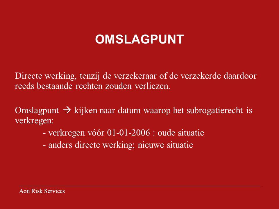 OMSLAGPUNT Directe werking, tenzij de verzekeraar of de verzekerde daardoor reeds bestaande rechten zouden verliezen.