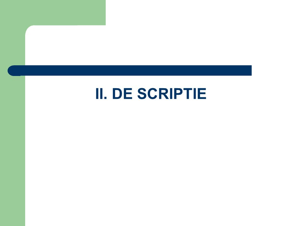II. DE SCRIPTIE