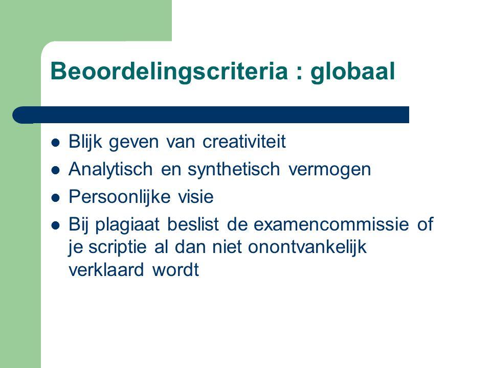 Beoordelingscriteria : globaal