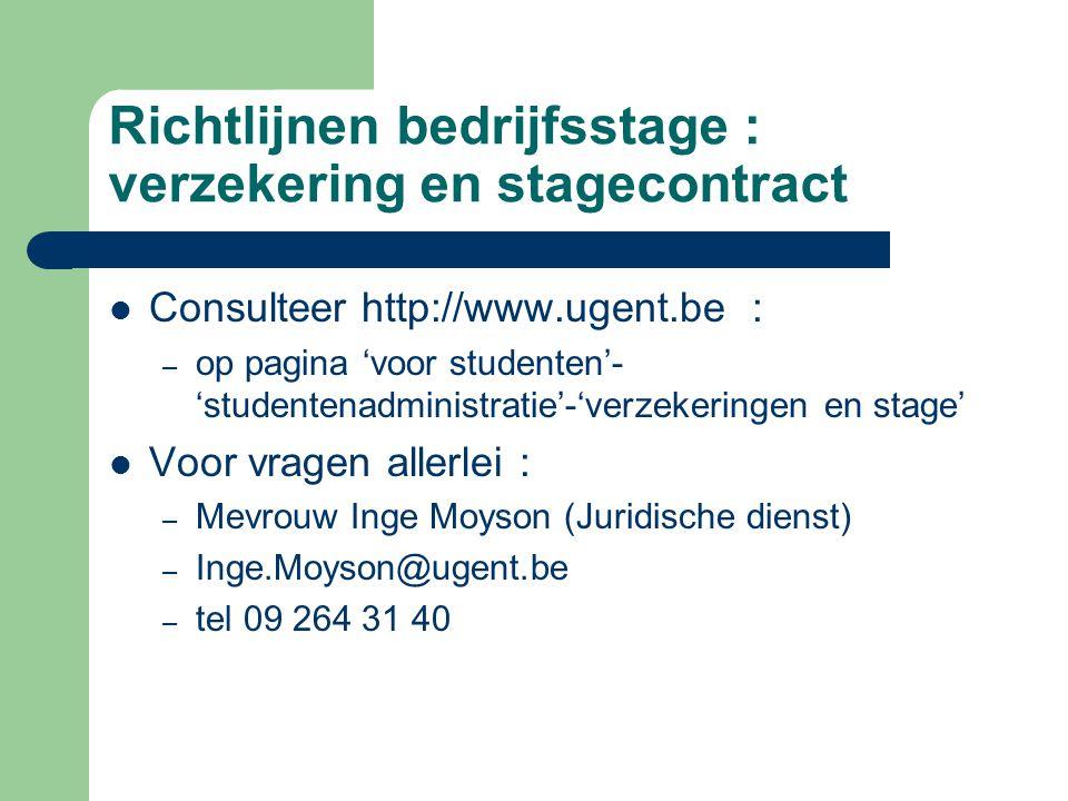 Richtlijnen bedrijfsstage : verzekering en stagecontract