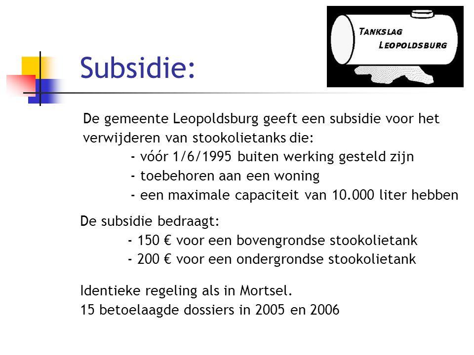 Subsidie: De gemeente Leopoldsburg geeft een subsidie voor het verwijderen van stookolietanks die: - vóór 1/6/1995 buiten werking gesteld zijn.