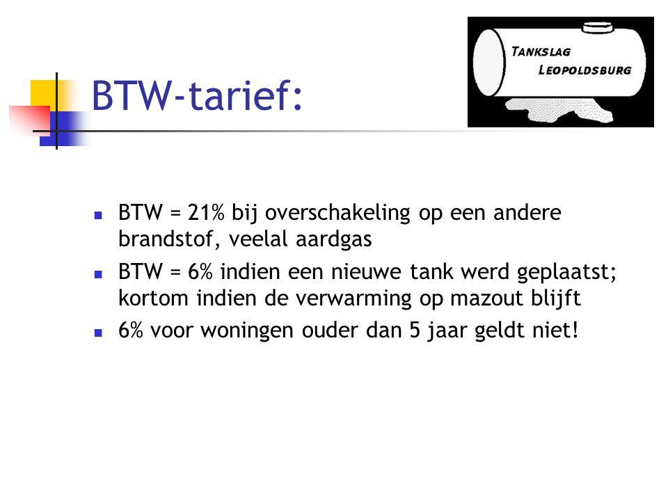 BTW-tarief: BTW = 21% bij overschakeling op een andere brandstof, veelal aardgas.