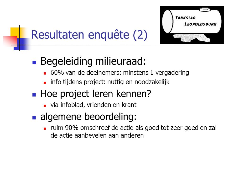 Resultaten enquête (2) Begeleiding milieuraad: