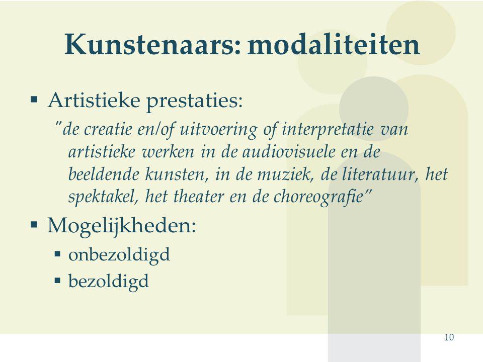 Kunstenaars: modaliteiten