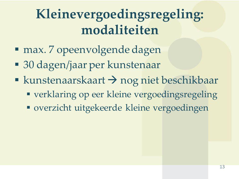 Kleinevergoedingsregeling: modaliteiten
