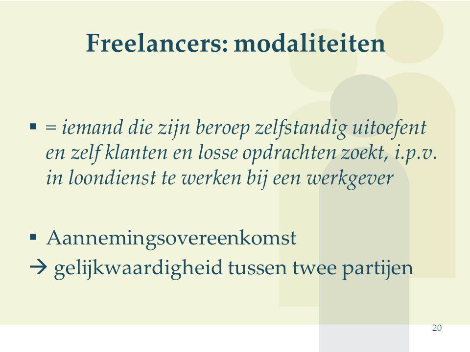 Freelancers: modaliteiten