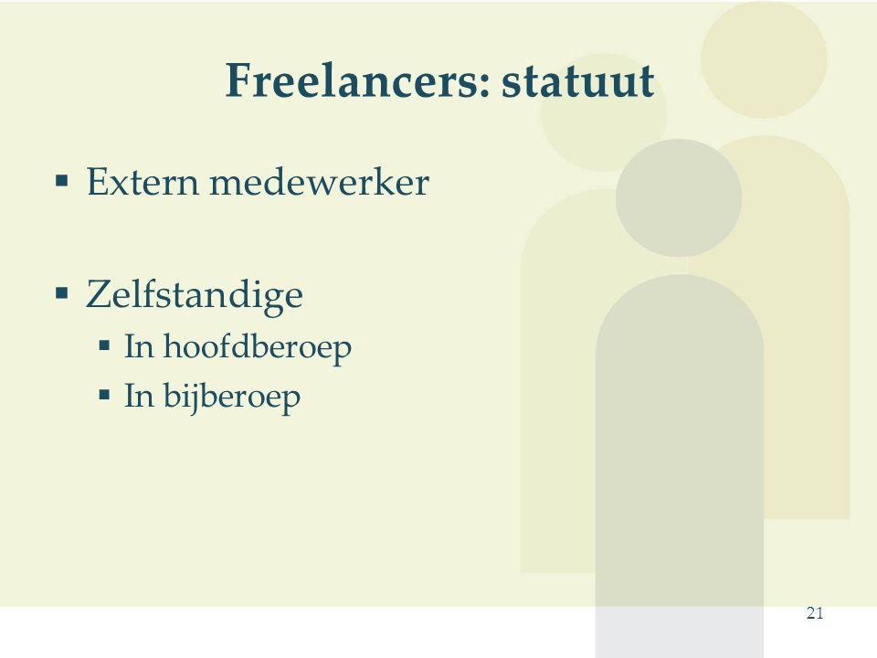 Freelancers: statuut Extern medewerker Zelfstandige In hoofdberoep