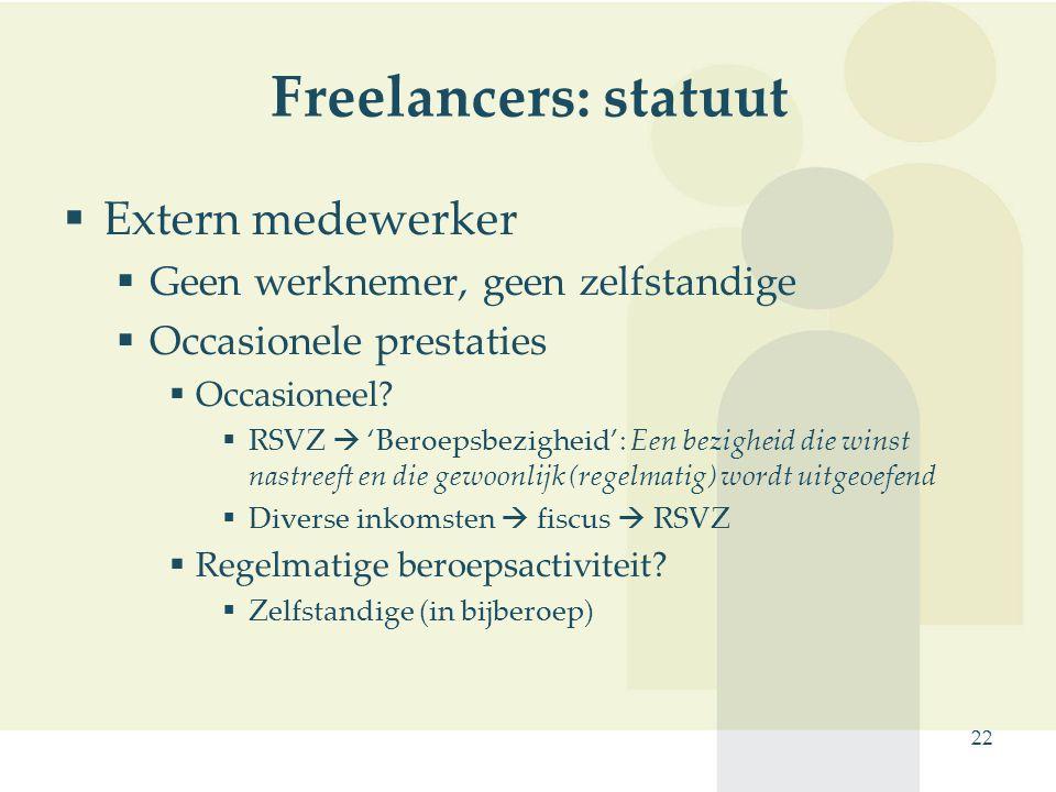 Freelancers: statuut Extern medewerker