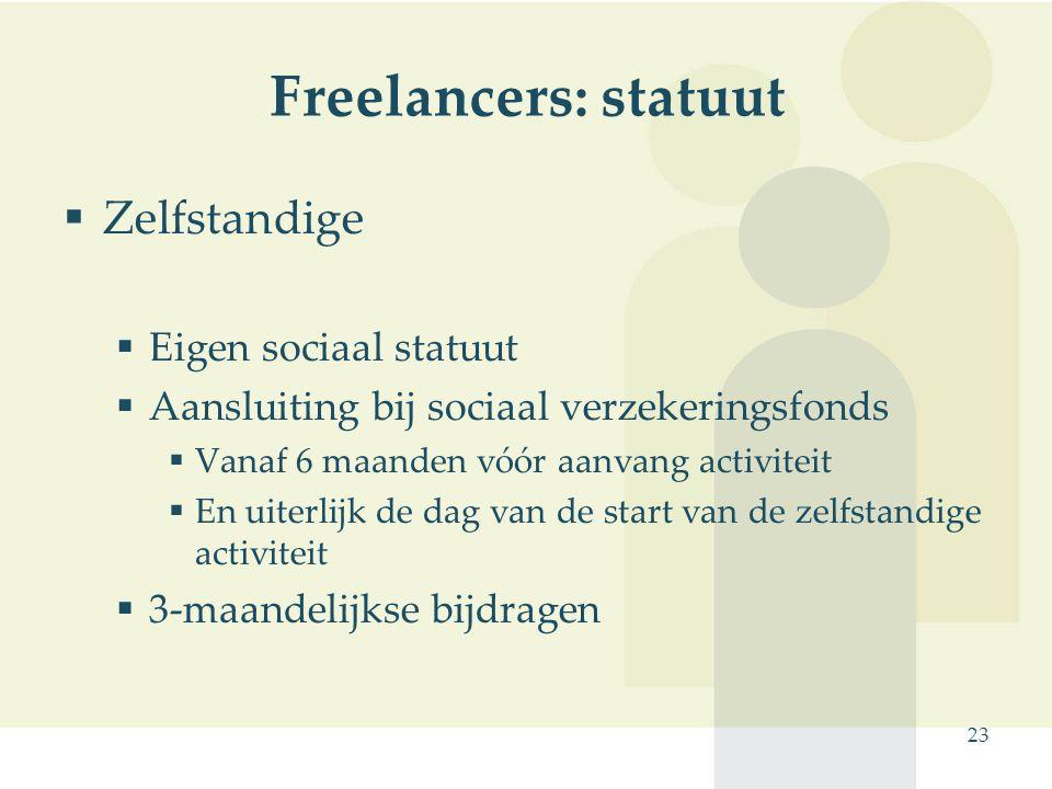 Freelancers: statuut Zelfstandige Eigen sociaal statuut