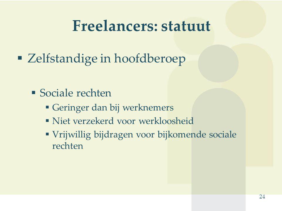 Freelancers: statuut Zelfstandige in hoofdberoep Sociale rechten