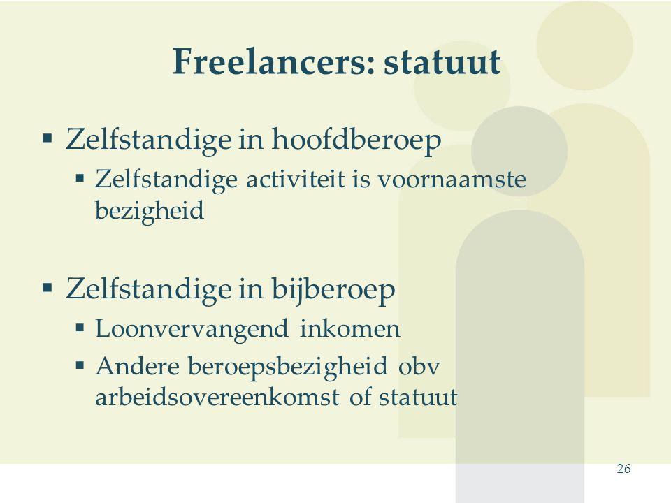 Freelancers: statuut Zelfstandige in hoofdberoep