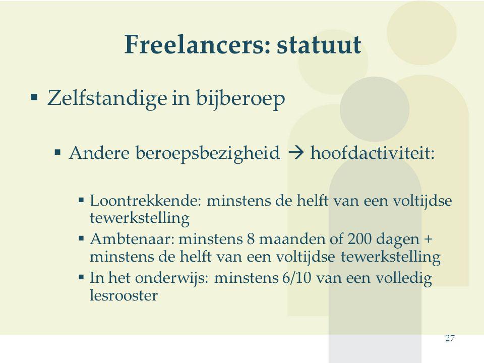 Freelancers: statuut Zelfstandige in bijberoep