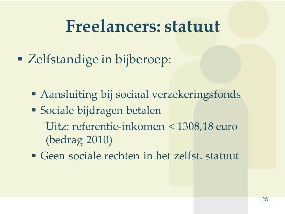 Freelancers: statuut Zelfstandige in bijberoep: