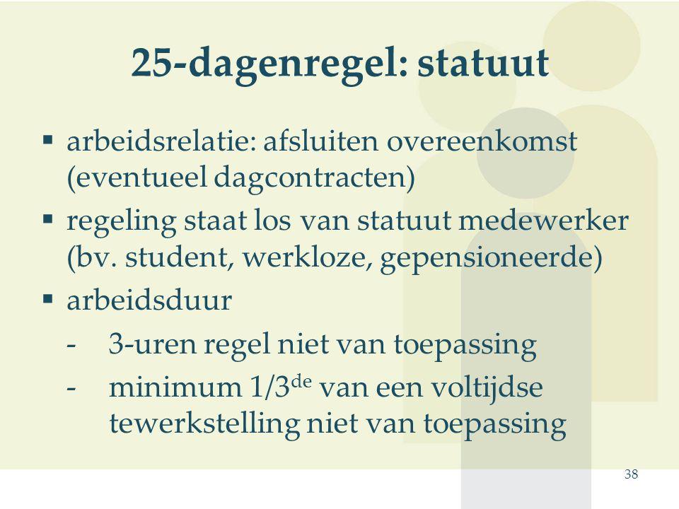 25-dagenregel: statuut arbeidsrelatie: afsluiten overeenkomst (eventueel dagcontracten)