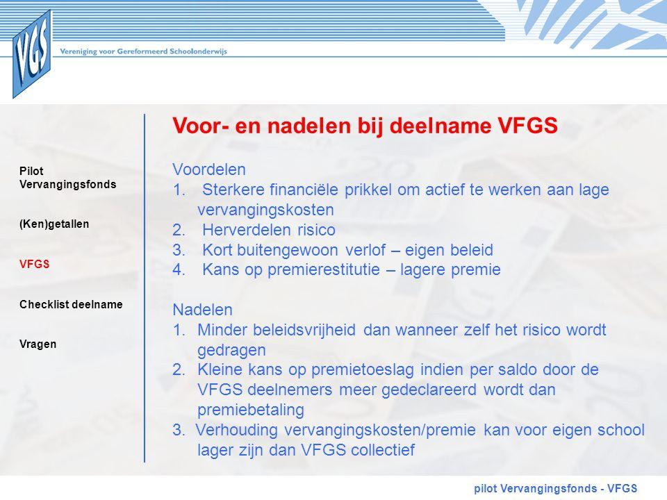 Voor- en nadelen bij deelname VFGS