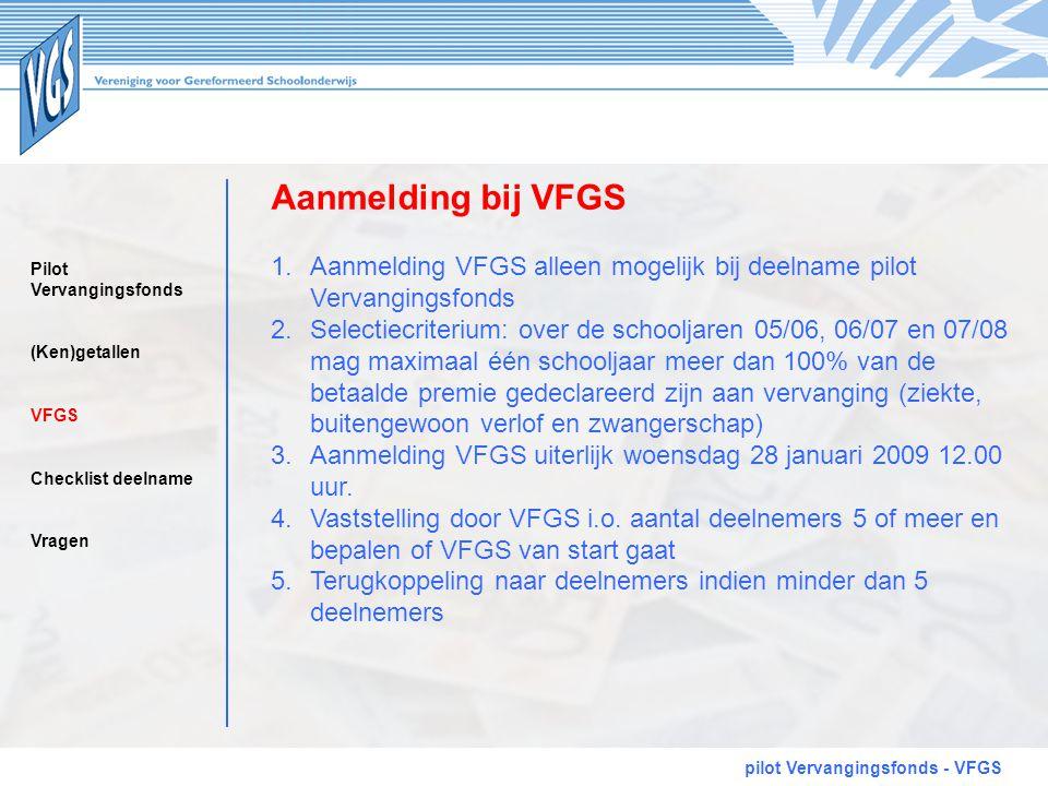 Aanmelding bij VFGS Aanmelding VFGS alleen mogelijk bij deelname pilot Vervangingsfonds.