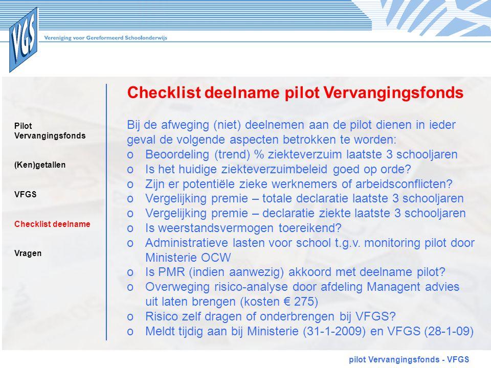 Checklist deelname pilot Vervangingsfonds