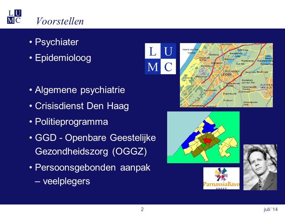 Voorstellen Psychiater Epidemioloog Algemene psychiatrie
