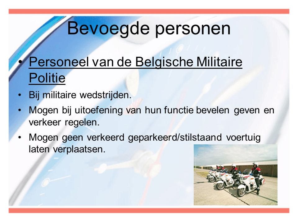 Bevoegde personen Personeel van de Belgische Militaire Politie