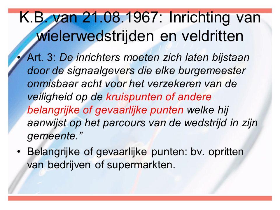 K.B. van 21.08.1967: Inrichting van wielerwedstrijden en veldritten
