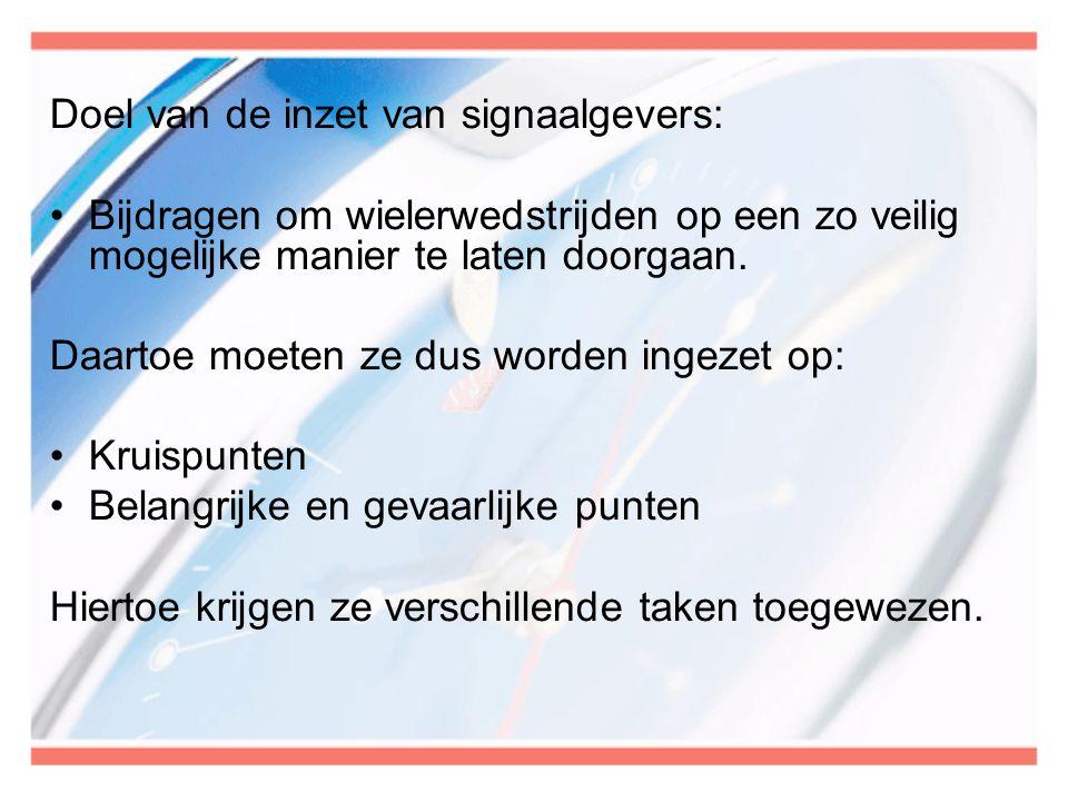 Doel van de inzet van signaalgevers: