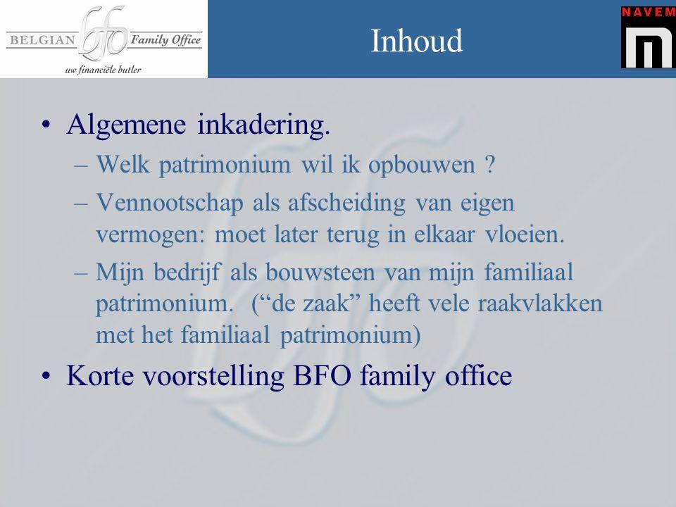 Inhoud Algemene inkadering. Korte voorstelling BFO family office