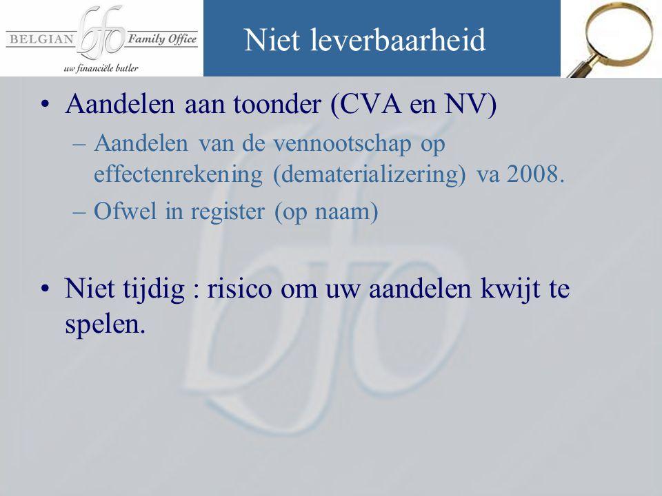 Niet leverbaarheid Aandelen aan toonder (CVA en NV)
