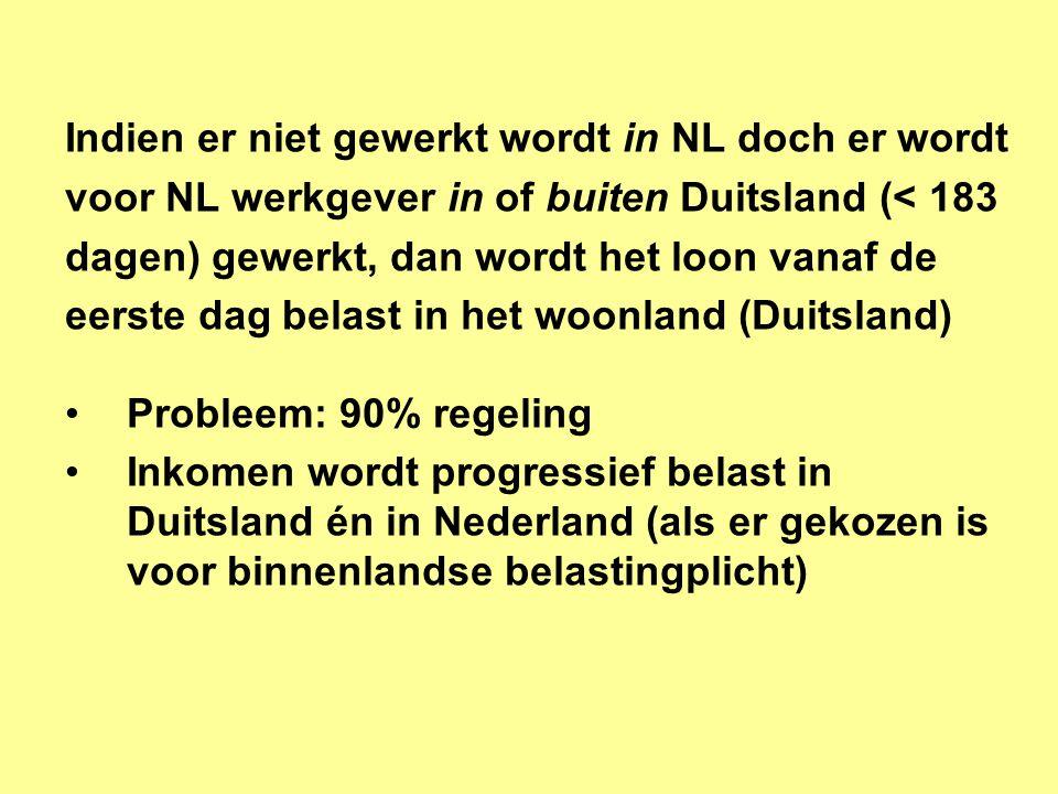 Indien er niet gewerkt wordt in NL doch er wordt