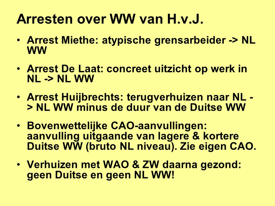 Arresten over WW van H.v.J.