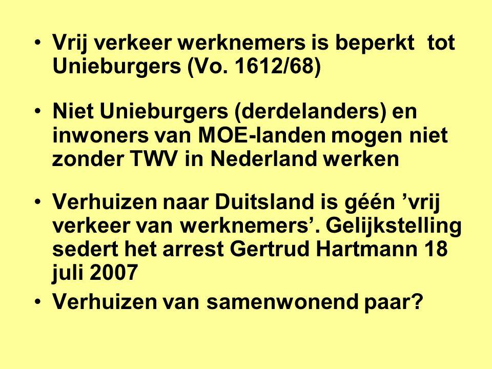 Vrij verkeer werknemers is beperkt tot Unieburgers (Vo. 1612/68)