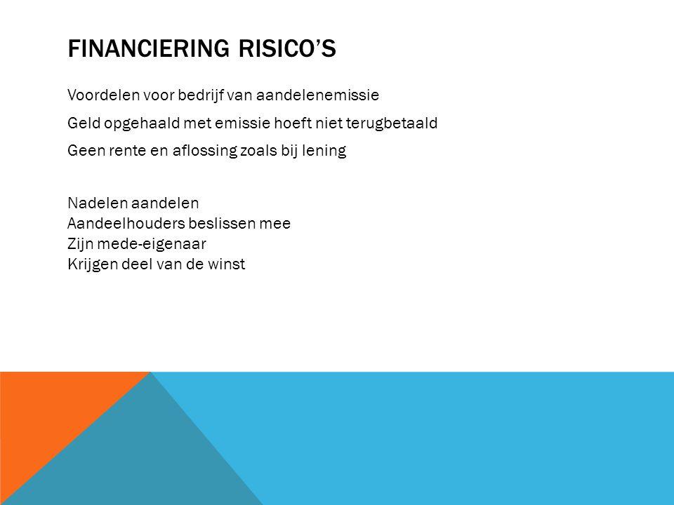 Financiering risico's