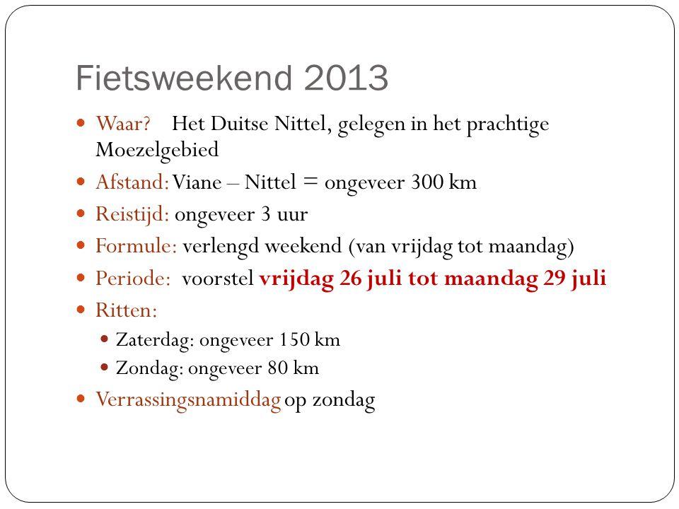 Fietsweekend 2013 Waar Het Duitse Nittel, gelegen in het prachtige Moezelgebied. Afstand: Viane – Nittel = ongeveer 300 km.