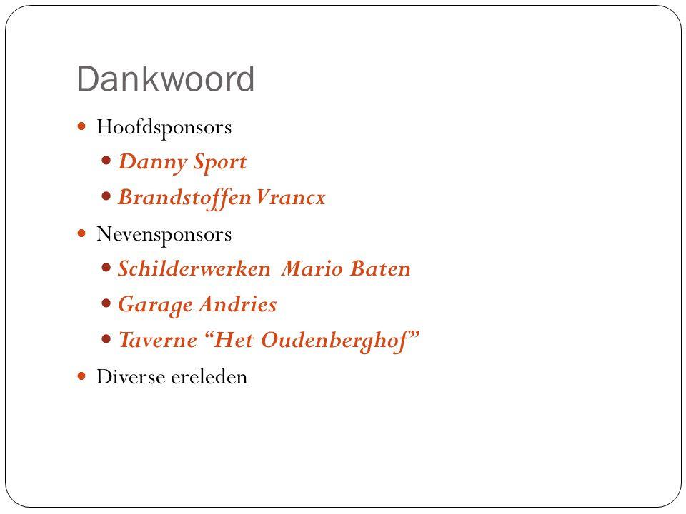 Dankwoord Danny Sport Brandstoffen Vrancx Schilderwerken Mario Baten