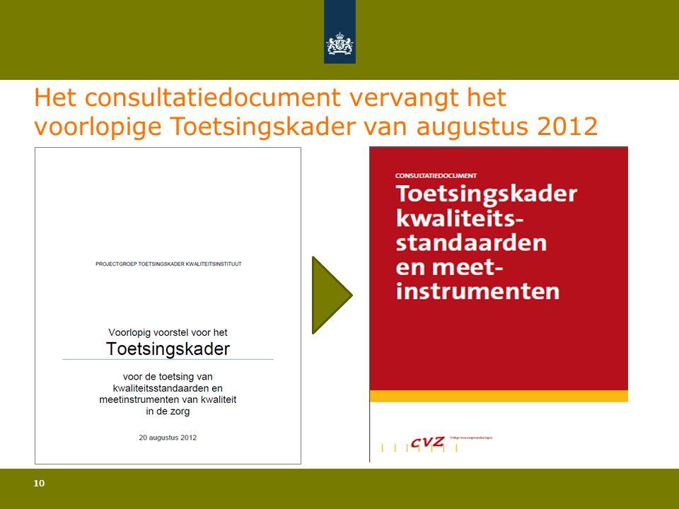 Het consultatiedocument vervangt het voorlopige Toetsingskader van augustus 2012