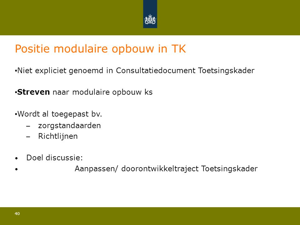 Positie modulaire opbouw in TK