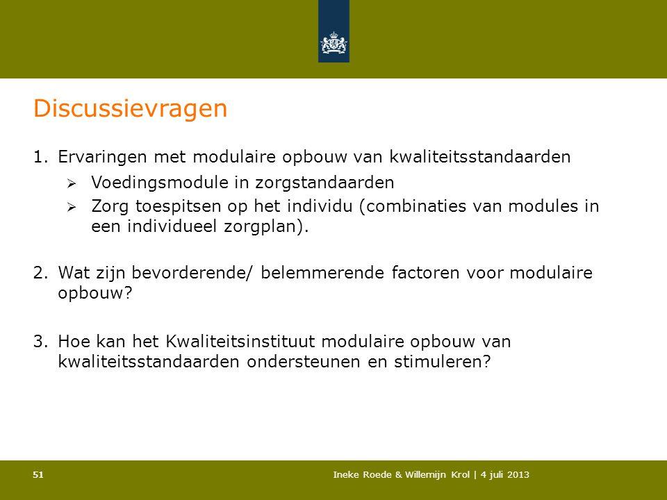 Discussievragen Ervaringen met modulaire opbouw van kwaliteitsstandaarden. Voedingsmodule in zorgstandaarden.