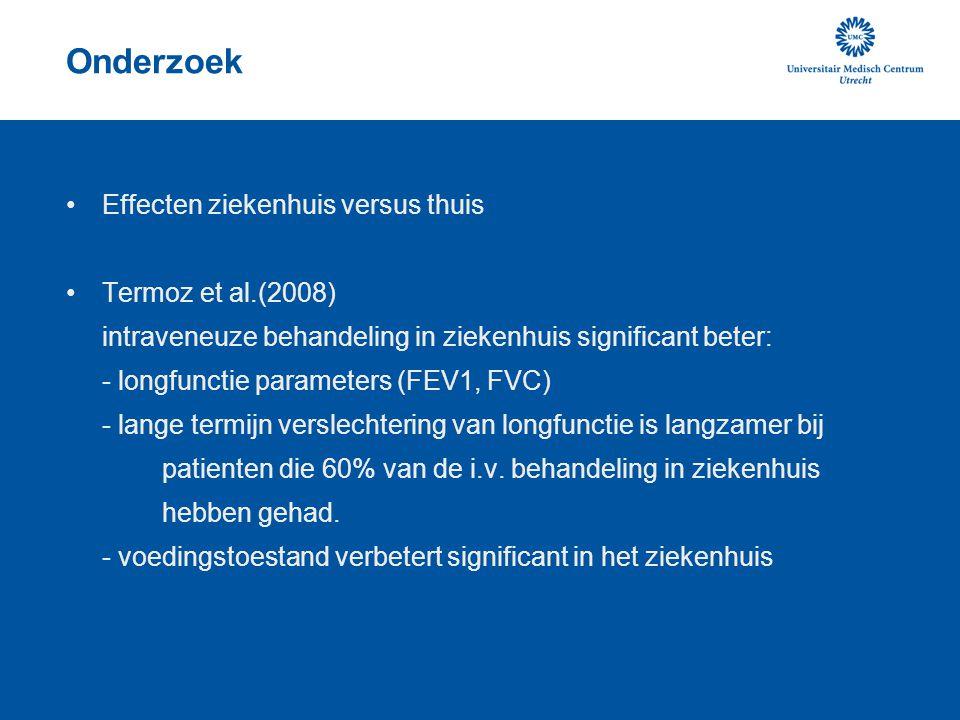 Onderzoek Effecten ziekenhuis versus thuis Termoz et al.(2008)