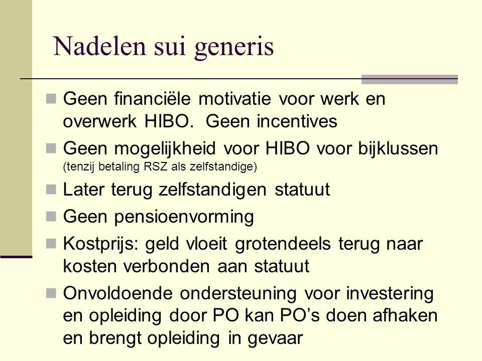 Nadelen sui generis Geen financiële motivatie voor werk en overwerk HIBO. Geen incentives.
