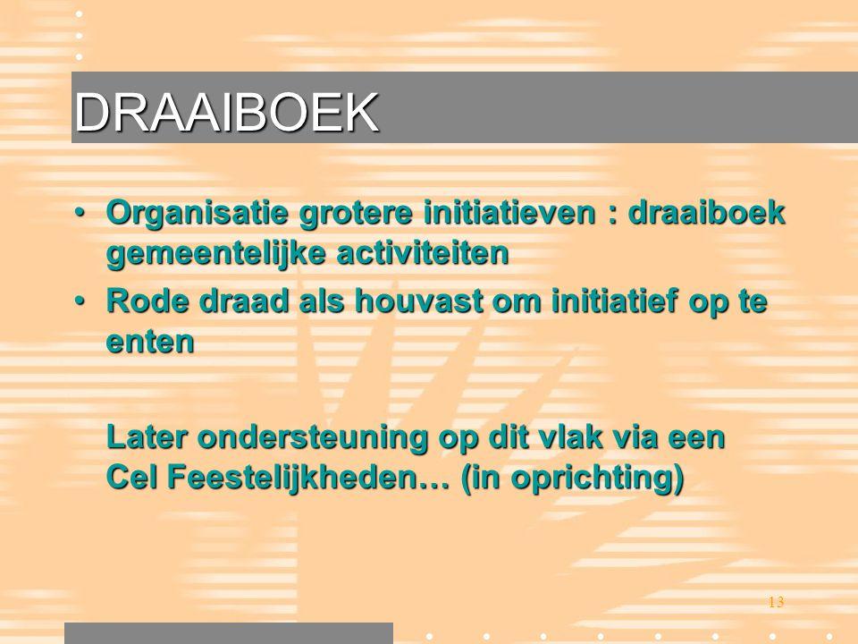 DRAAIBOEK Organisatie grotere initiatieven : draaiboek gemeentelijke activiteiten. Rode draad als houvast om initiatief op te enten.