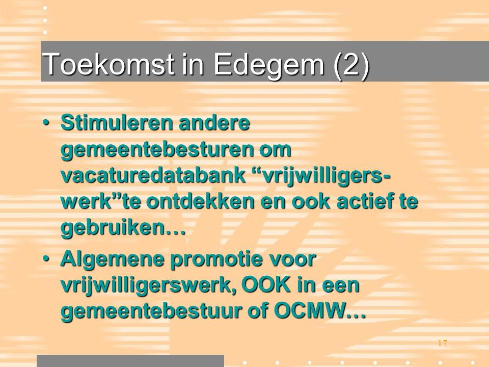 Toekomst in Edegem (2) Stimuleren andere gemeentebesturen om vacaturedatabank vrijwilligers-werk te ontdekken en ook actief te gebruiken…