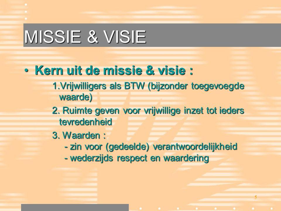 MISSIE & VISIE Kern uit de missie & visie :