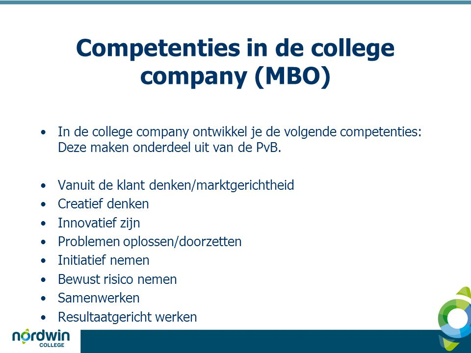 Competenties in de college company (MBO)
