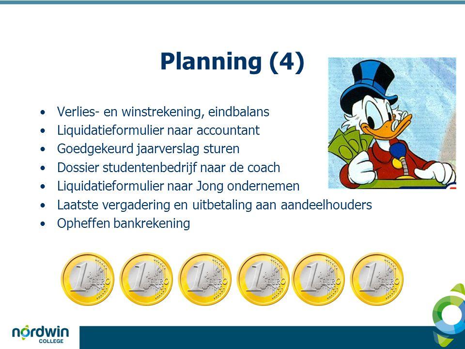 Planning (4) Verlies- en winstrekening, eindbalans
