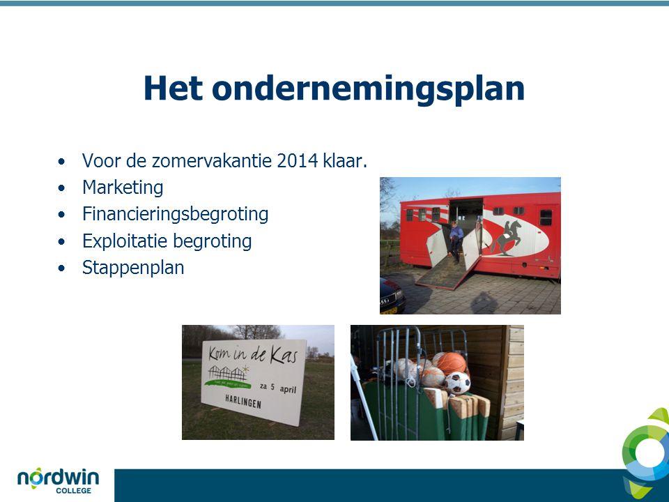 Het ondernemingsplan Voor de zomervakantie 2014 klaar. Marketing