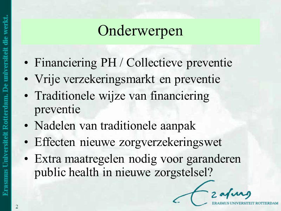 Onderwerpen Financiering PH / Collectieve preventie