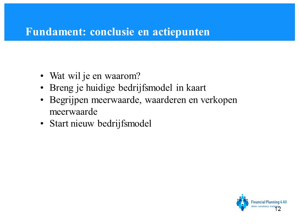 Fundament: conclusie en actiepunten