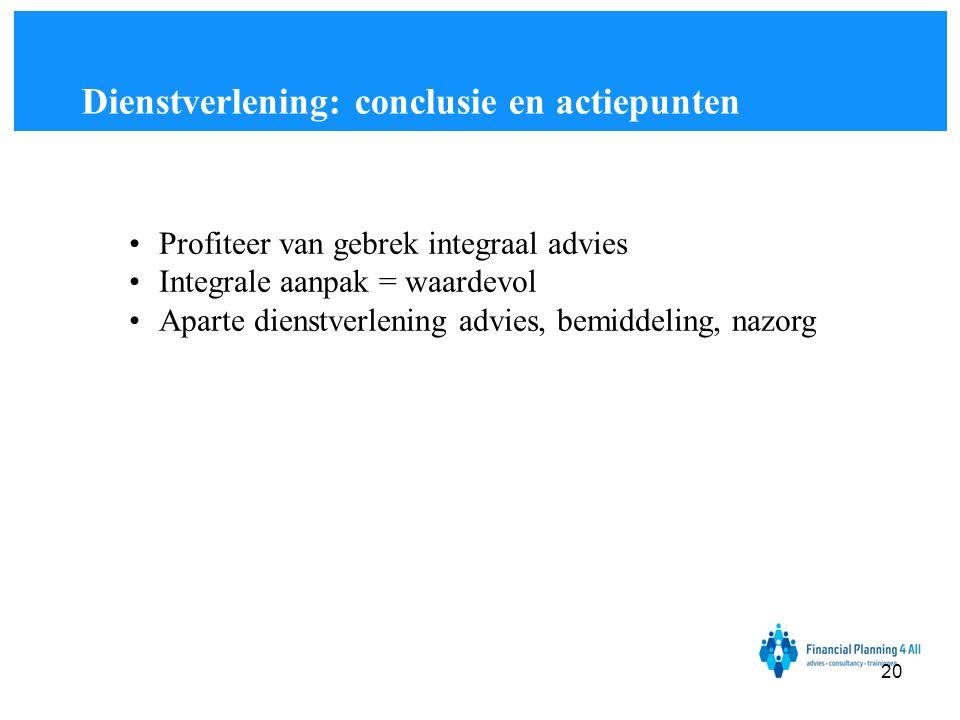 Dienstverlening: conclusie en actiepunten