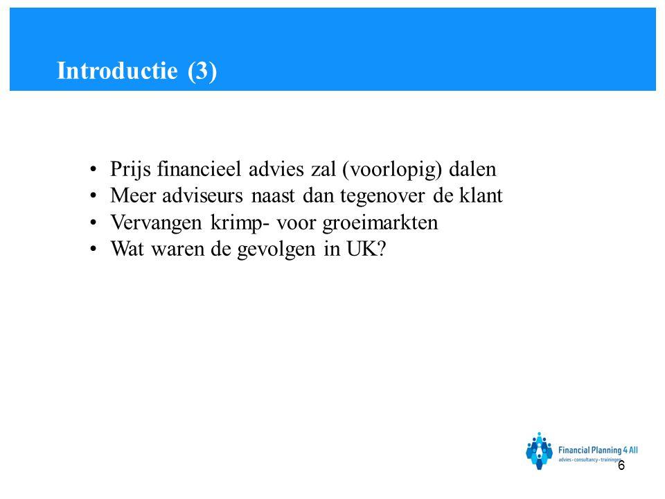Introductie (3) Prijs financieel advies zal (voorlopig) dalen