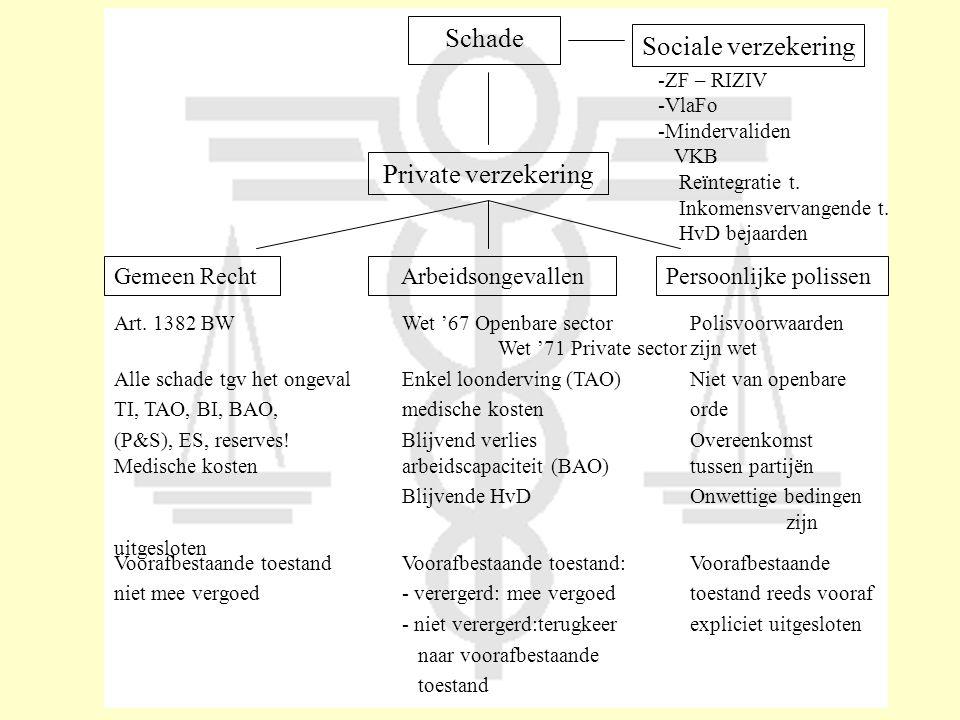 Schade Sociale verzekering Private verzekering Gemeen Recht